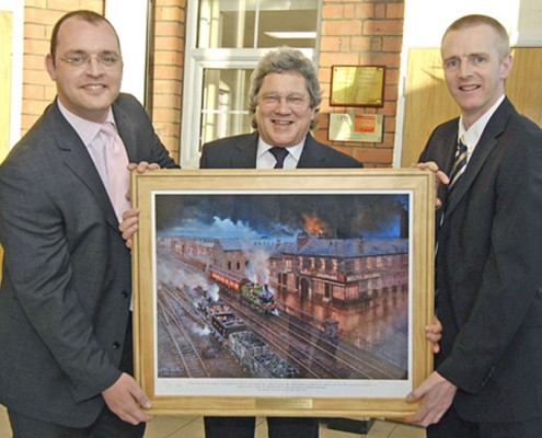 Stuart Drummond elected Mayor of Hartlepool, receives the painting from M.D. Andrew Pailor watched by the artist John Austin FGRA